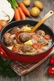 Kapuściana polewka z klopsikami i pomidorami Obraz Stock