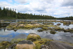Kapuskasing River. View  on the north side of Stergeon Falls Royalty Free Stock Image