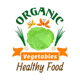 kapusta Organicznie zdrowy warzywo emblemat ilustracji