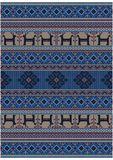 Luxury vintage oriental rug in blue shades with deer and flowers on beige background. Original luxury vintage oriental rug in blue shades with deer and flowers royalty free illustration