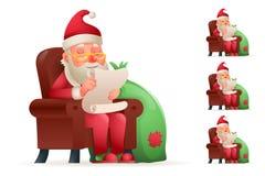 Karło Siedzi Bożenarodzeniowego Święty Mikołaj Zadawalającego Szczęśliwa Zadowolona kreskówka Męczącego prezent torby charakteru  Obraz Stock