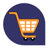 Kar of het winkelen pictogram van vastgestelde tricolor Stock Afbeeldingen