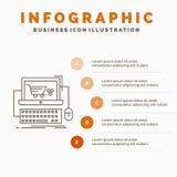 Kar, online, winkel, opslag, het Malplaatje van spelinfographics voor Website en Presentatie Lijn Grijs pictogram met Oranje info vector illustratie