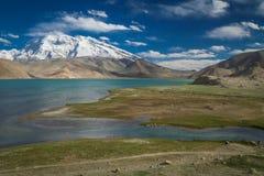 Kara Kul Lake. Stunning mountain scenery of the Kara Kul lake in Karakorum China stock photography