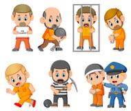 Kara przestępca na więzieniu ilustracja wektor