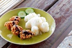 Karaage,炸鸡日本式用米 孩子的乐趣食物-逗人喜爱的熊塑造了在木桌上的米 库存图片