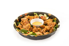 Karaage party tray in  bowl on white Stock Photography