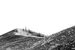 The road to the Pious Cross. Karabash: the road to the Pious Cross. Stylized as an old black and white photo. January 2018 Stock Photos