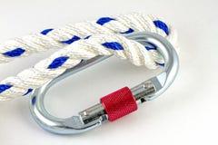 Karabiner con la corda Immagini Stock