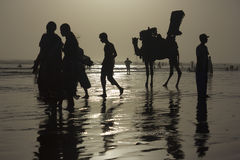 Karachi Beach Silhouette Stock Images