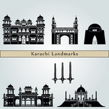 Karachi Landmarks. And monuments isolated on blue background in editable vector file