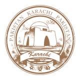 karachi pakistan stämpel vektor illustrationer