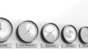 Karachi ronde d'apparence d'horloge, temps du Pakistan dans des fuseaux horaires du monde Animation 3D conceptuelle clips vidéos