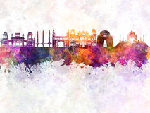 Karachi skyline in watercolor Stock Photos