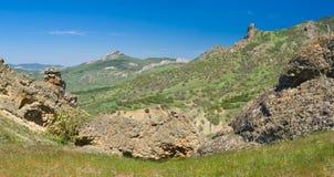 在Karadag自然保护的全景横向 库存图片