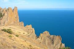 Karadag Berge und Schwarzes Meer, Krim, Ukraine Lizenzfreie Stockfotografie