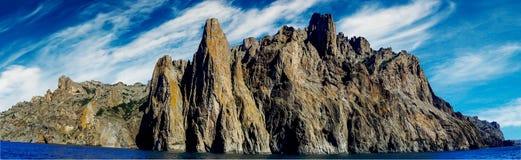 Karadag mountain in Eastern Crimea. Panoramic view Karadag rocks. Koktebel. Crimea royalty free stock photo