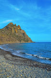 Karadag, sea, coast near Kara-Dag. Sky, black sea, the mountains, Crimea Stock Image