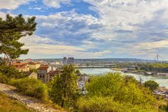 Two shores. Karadjordjeva street and bridges of Belgrade from the slopes of Kalemegdan, HDR Image royalty free stock photos