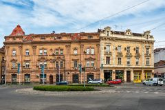 Karadjordjeva Street and traffic roundabout in the settlement of Savamala in the center of Belgrade. Belgrade, Serbia April 26, 2019: Karadjordjeva Street and royalty free stock photo