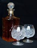 Karaf en kristalbocals Royalty-vrije Stock Fotografie