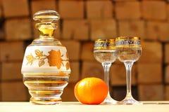 karaff exponeringsglas, tangerin Royaltyfria Bilder