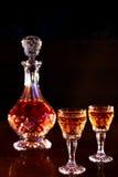 Karaff och forsar av alkohol Royaltyfria Bilder