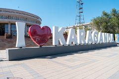 Karaganda, Kazakhstan - September 1, 2016: Inscription I love Ka. Raganda Stock Photos