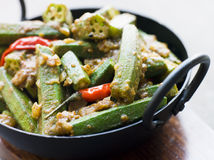 Karahi Dish with Bhindi Masala Royalty Free Stock Photos