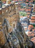 Karahisar castle, Afyon, Turkey. Karahisar castle walls on a hill over the old city of Afyon, Turkey Stock Photos
