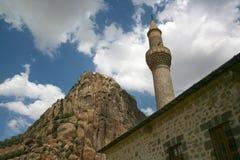 Karahisar Schloss und Minarett Stockfoto
