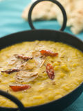 Karai Dish of Tarka Dhal with Naan Bread Stock Photos