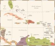 Karaibska mapa - rocznika wektoru ilustracja ilustracji