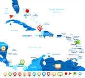 Karaibska mapa - Wektorowa ilustracja ilustracji