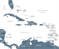 Karaibska mapa - Wektorowa ilustracja royalty ilustracja