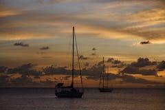 karaibskiego rejsu złoty zmierzch Zdjęcie Royalty Free