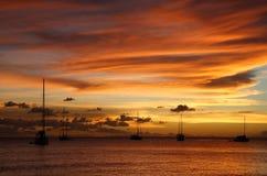 karaibskiego rejsu złoty zmierzch Obrazy Royalty Free