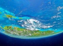 Karaiby na kuli ziemskiej od przestrzeni Obraz Stock