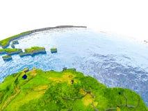 Karaiby na modelu ziemia Zdjęcia Royalty Free