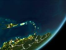 Karaiby na nocy ziemi Fotografia Royalty Free