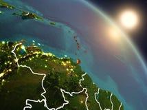 Karaiby od przestrzeni podczas wschodu słońca Obrazy Stock