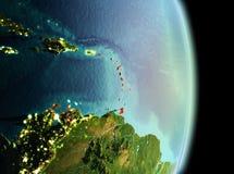 Karaiby w ranku od orbity Obrazy Stock