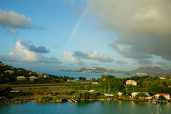 karaiby wyspy st Lucia Tęcza nad lotniskiem Zdjęcia Stock