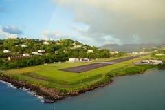 karaiby wyspy st Lucia Tęcza nad lotniskiem Fotografia Royalty Free