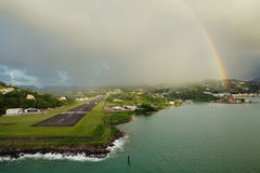 karaiby wyspy st Lucia Tęcza nad lotniskiem Zdjęcie Royalty Free