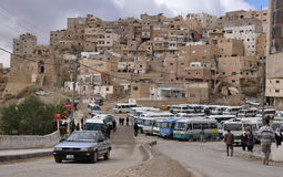 Karak bus stand, Jordan. View at Karak village which is near by crusader castle Kerak (Al karak), Jordan Royalty Free Stock Photos