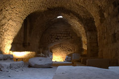 Karak Castle. The kitchen at Karak Castle, Jordan, which was the main Crusader stronghold in its province of Oultre Jourdain and the administrative capital. The Stock Images