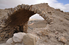 Karak castle ruins. Part of the ruins of Karak Castle, Jordan, which was the main Crusader stronghold in its province of Oultre Jourdain and the administrative Stock Images