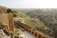 Karak slott i Jordanien arkivbild