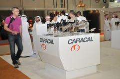 Karakal broni pawilon przy Abu Dhabi Międzynarodowym polowaniem 2013 i Equestrian wystawą Fotografia Royalty Free